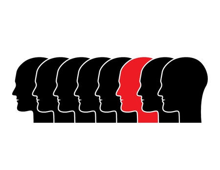 series of black human silhouettes in profile  A silhouette in red Stock Vector - 17820071
