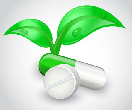 Tablets and capsules on a white background  Capsule of shiny leaves grow Stock Vector - 17820072