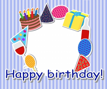 Framed holiday items, cake, gift, caps and balloons. Vector