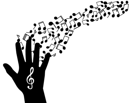 musicality:   silhouette of hands with the treble clef and notes