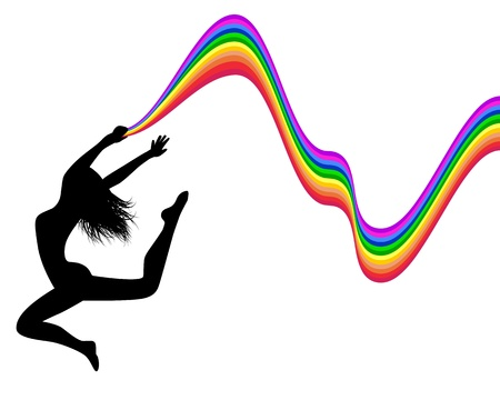 computer dancing: female silhouette jumping and holding a rainbow trail