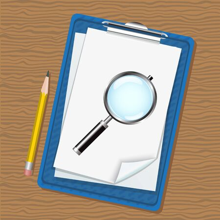 folder with clip and paper, magnifying glass and a pencil lying on a wooden table   Stock Vector - 17972260