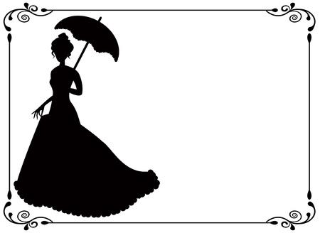 우산과 긴 드레스 우산과 소용돌이 빈티지 프레임을 가진 여자의 실루엣 일러스트