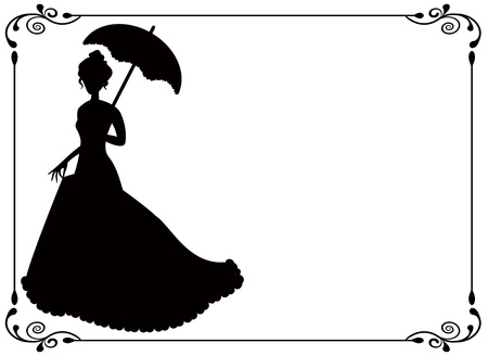 silhouette of a woman with umbrella and long dress  umbrella and vintage frame with swirls     Vector