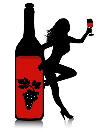 bottle of red wine and a silhouette of a woman with a glass     Stock Vector - 18069716