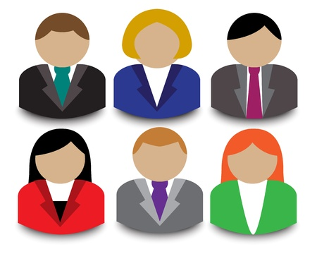 man using computer: Business people avatars on a white background