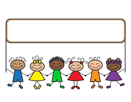 Cartoon Jungen und Mädchen verschiedener Nationalitäten mit einem Banner