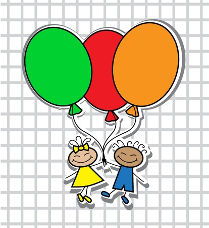 cartoon boy and girl with colorful balloons Stock Vector - 18068980