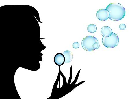 burbujas de jabon: silueta femenina en el perfil sopla burbujas brillantes