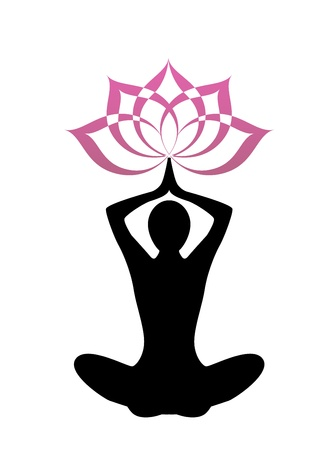 position: female silhouette yoga. Above her head, a lotus flower