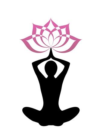 flor de loto: yoga silueta femenina. Sobre su cabeza, una flor de loto Vectores