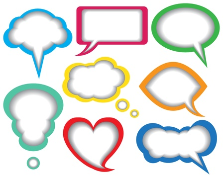 colorful paper dialogue bubbles on white background Stock Vector - 18154236