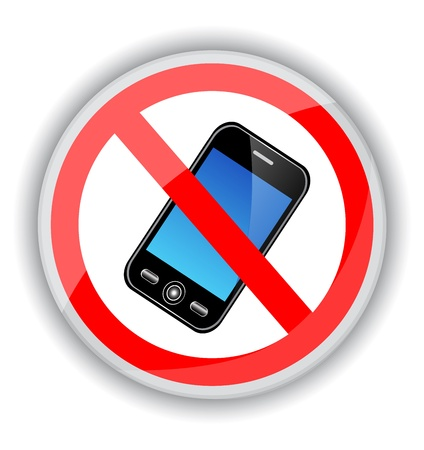cell phones: red sign banning cell phones. A sign on a white background