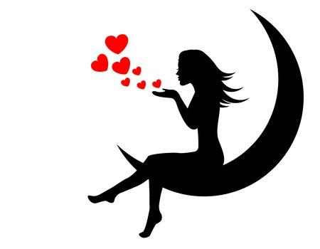 月に座っている女の子と手の心を吹く