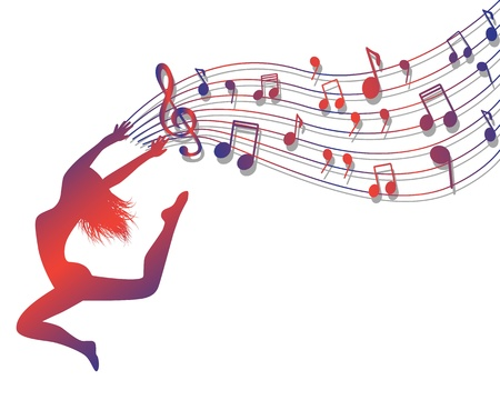 여성의 실루엣 점프. 메모와 고음 음자리표와 뮤지컬 라인업을 들고 여자가