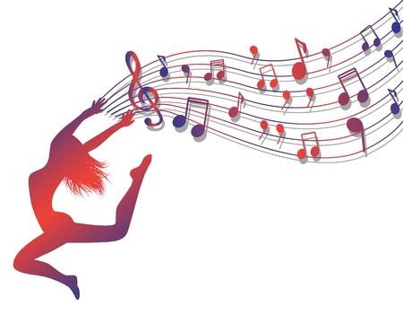 Weibliche Silhouette Springen. Frau hält eine musikalische Lineup mit Noten und Violinschlüssel Illustration