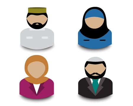 Avatars four Muslim men and women on a white background   Ilustração