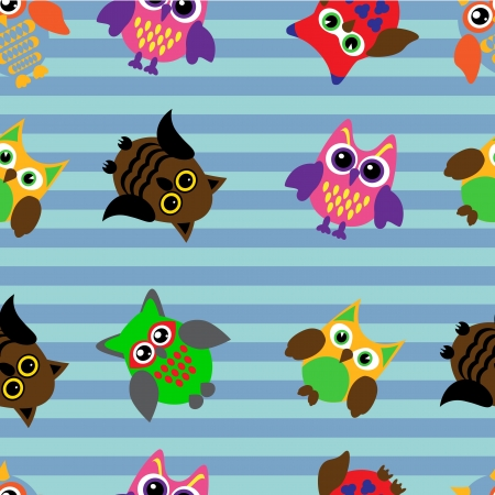 Seamless pattern with different cartoon owls on striped background Vector