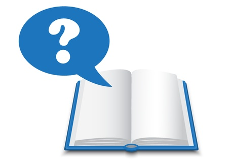 blue book with white pages and a dialogue bubble with a question mark