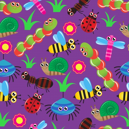 Seamless background with the image of different cartoon insects   Vector