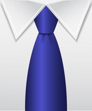 blue tie:   shiny blue tie and white shirt collar Illustration
