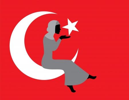 turkish woman: Muslim woman in hijab with a Turkish flag  Illustration