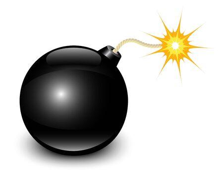 bombing: glanzend zwarte bom met vonken op een witte achtergrond
