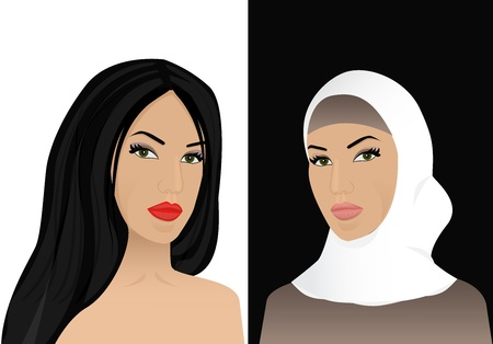 traditional illustration:   left a woman with open hair and brightly dyed right woman converted to Islam and wore a headscarf Illustration