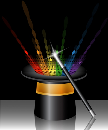 magic black hat with colorful glow and a magic wand Vector
