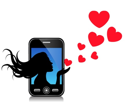 silhouette of a beautiful girl sends hearts of mobile phone Stock Vector - 18672261