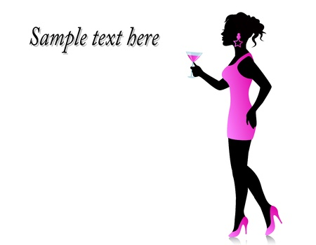 silhouette of a woman standing in a short pink dress with a glass in hand Stock Vector - 18672264