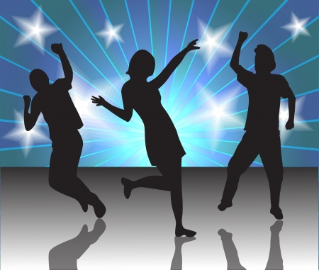 silhouettes of people dancing at a disco Vector