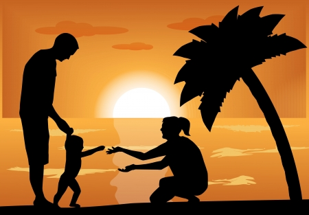 mother and infant: family, couple plays with a child at sunset next to a palm tree