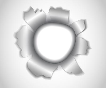 impacts: agujero redondo asim�trica con los bordes rasgados en papel blanco