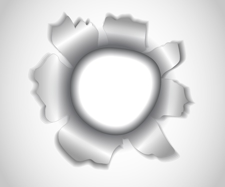 impact: asymmetric round hole with torn edges in white paper