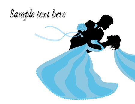 bride and groom in a blue dress standing embrace Vector