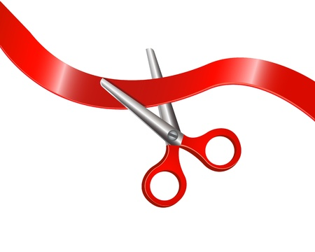 Scissors with red handles are beginning to cut red tape