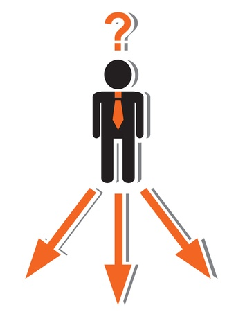 one way sign:   businessman in a tie standing and thinking in where to go  Before man three road