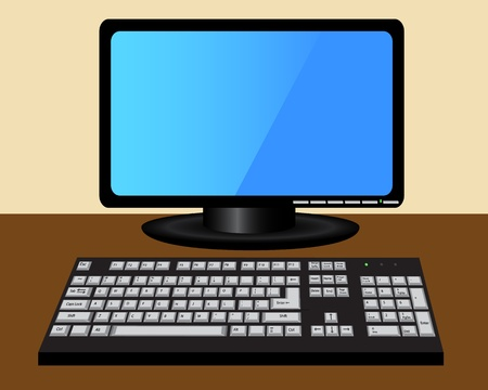 monitor and keyboard are on the brown table Stock Vector - 19014628