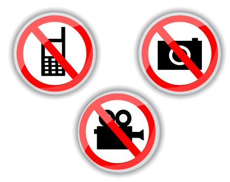 red and white prohibiting signs with telephone, video and photo camera   Vector