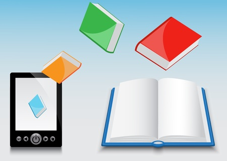 libros volando: E-libro de la mosca de diferentes libros de papel negro