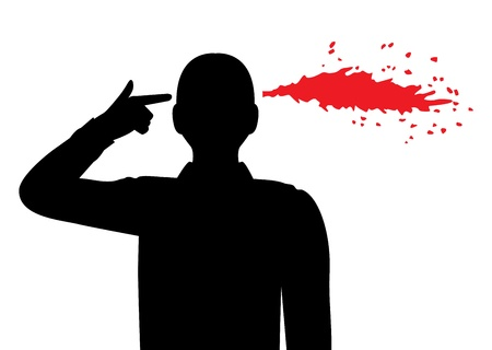 despair: silhouette of a man folded his fingers into the shape of a gun and holds his temple.