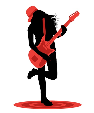 only 1 girl: Black female silhouette with red guitar on white background