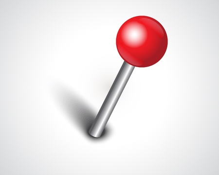 straight pin: shiny red safety pin on white background Illustration