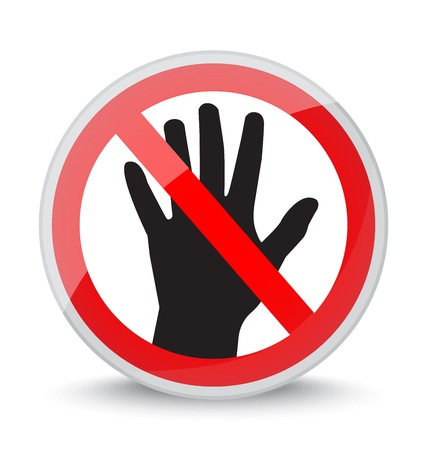 prohibition sign  do not touch  with the image of silhouette hands   Stock Vector - 19400827