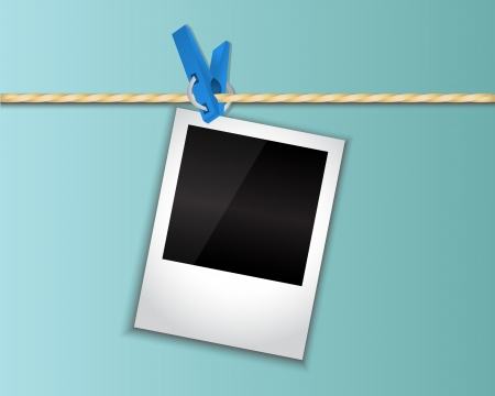 polaroid: Photo blue clothespin attached to a rope Illustration