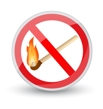 red forbidden sign with a burning match   Stock Vector - 19400828