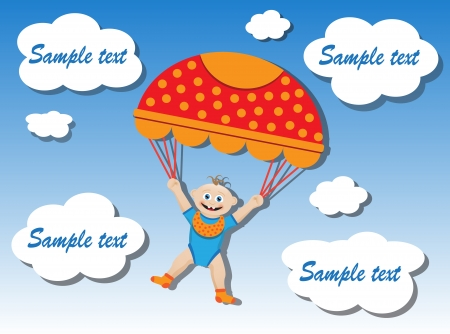 shape cub: child flying with a parachute in the clouds Illustration