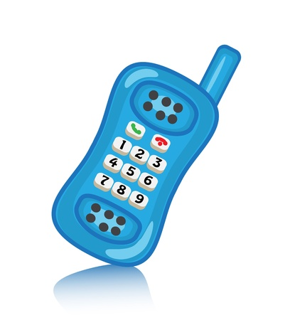 household objects equipment: cartoon blue push-button telephone with the antenna