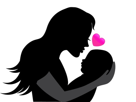 woman profile: mother holding a young child  Near the heart symbolizing the mother s love Illustration